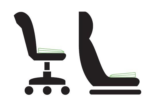 Použití funkčního podsedáku   Varianta kancelář vs varianta auto